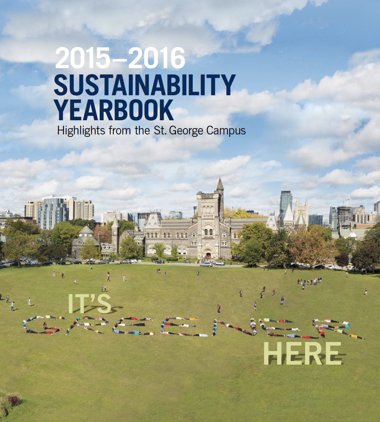 2015-2016 Sustainability Yearbook Cover with an aerial view of the University Campus Front Campus