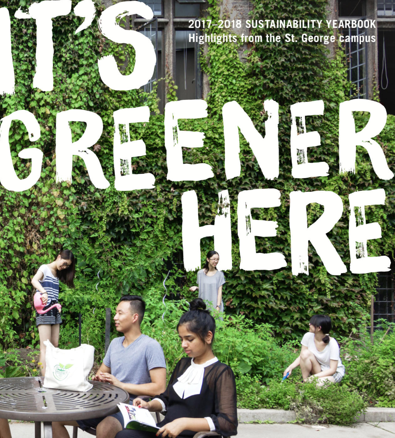 2017-2018 Sustainability Yearbook Cover with students posed in front of a green wall