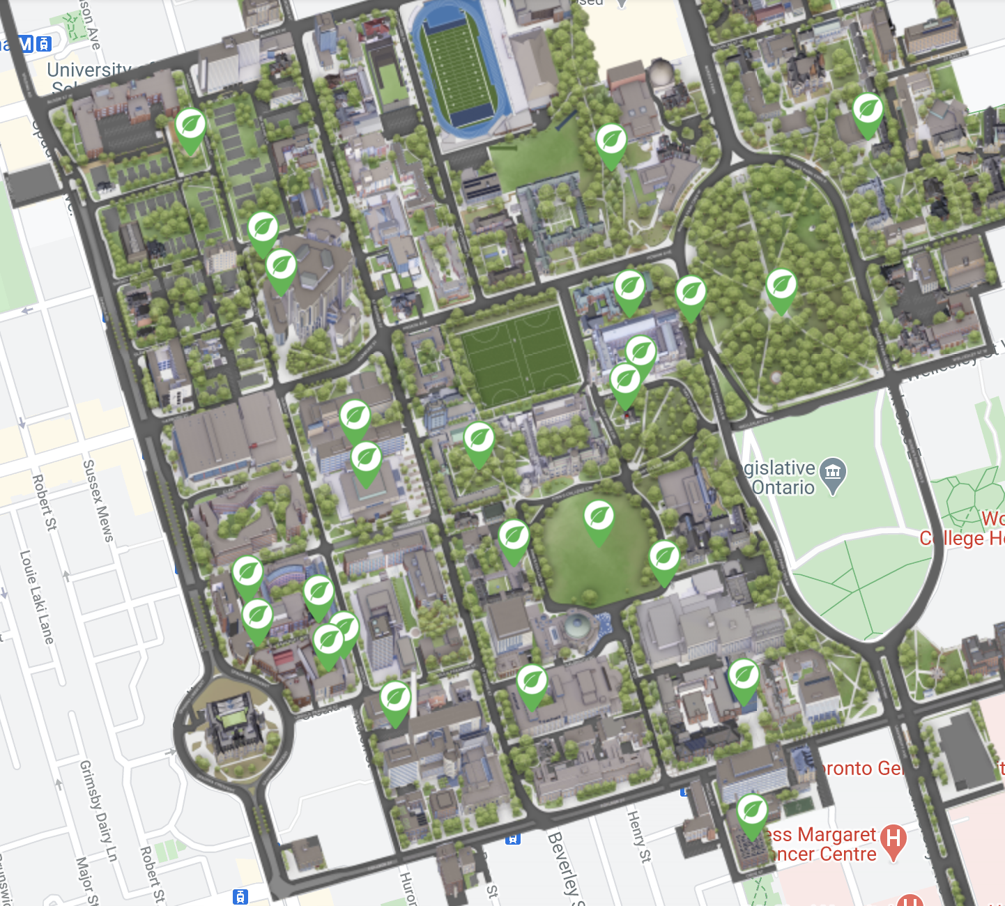 Screen shot of map with green spaces highlighted