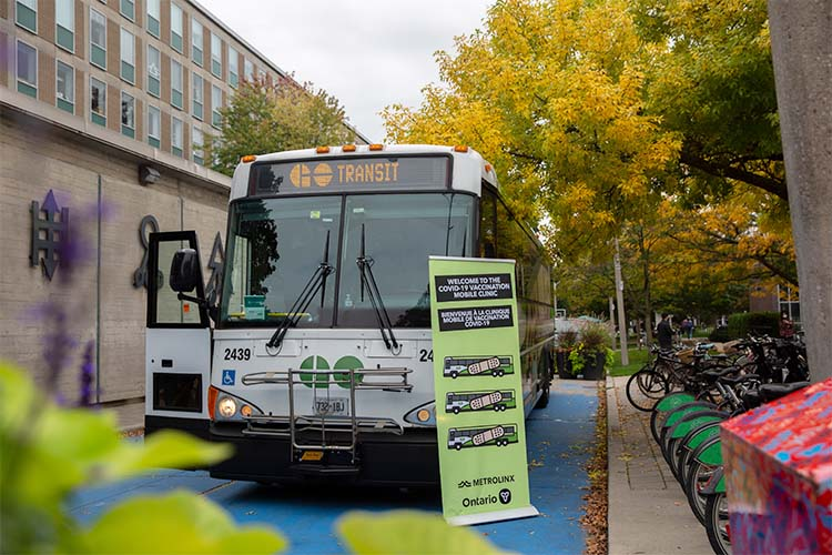 The GO-VAXX bus on campus.